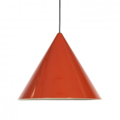 Red enamel Billiard Hanging lamp by Arne Jacobsen for Louis Poulsen, 1960s