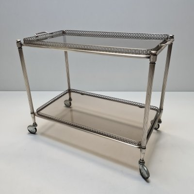 French silvered two-tiers bar cart trolley with smoked glass