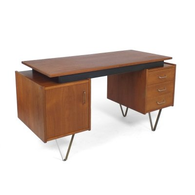 60s Teak desk with hairpin legs & floating top by Tijsseling