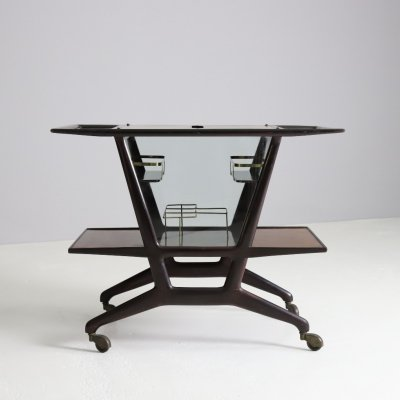 Stylish serving trolley by Cesare Lacca in zebrano wood & brass, 1950s