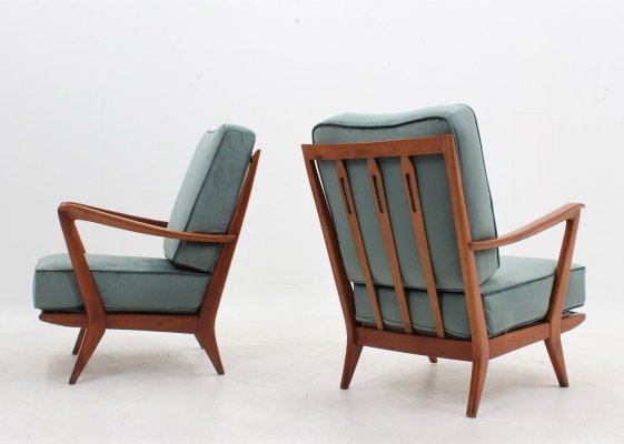 Pair of Gio Ponti mid century armchairs by Cassina, 1950s