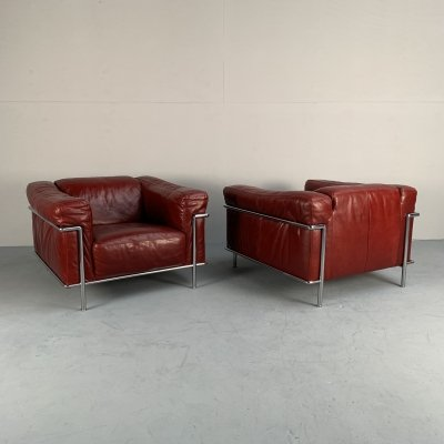 Leather & chrome armchair by Natuzzi, Italy 1980s