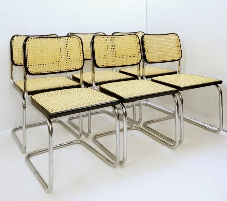 Set of 8 Cane And Chrome Chairs, Italy 1970s