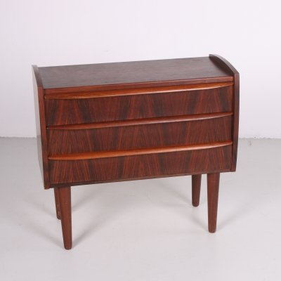 Vintage rosewood chest of drawers with three drawers