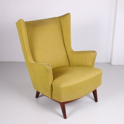 Moss green Danish armchair with rosewood base, 1960s