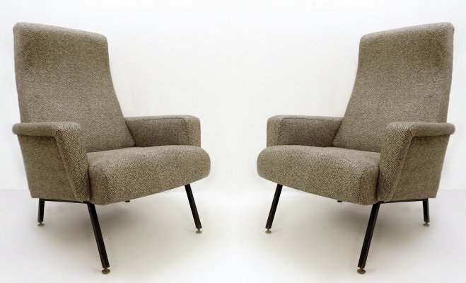 Pair of Italian Armchairs With Black Metal Structure, 50s