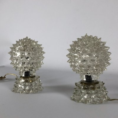 Rare Pair of Ercole Barovier Rostrato table lamps, Italy 1940s