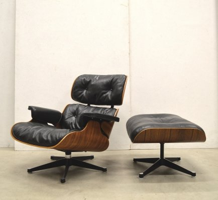 Very early Contura Herman Miller Lounge Chair & Ottoman by Charles Eames, 1960s
