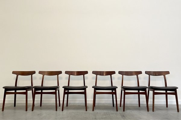 Set of 6 rosewood & leather dining chairs by Henning Kjærnulf for Bruno Hansen, Denmark 1960s