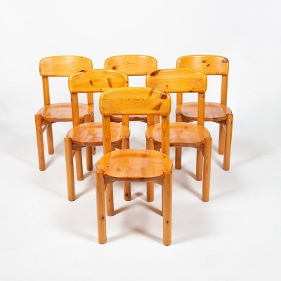 Set of 6 chairs in pine by Rainer Daumiller, 1960s