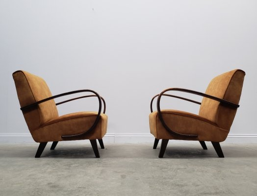 1930 Jindrich Halabala Bentwood Armchairs in Rusty Brown Velvet