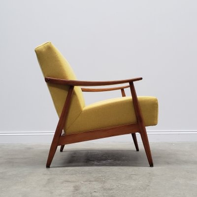 1960's Danish Lounger Club Chair in Yellow