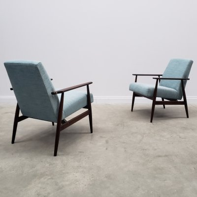 1960 Henryk Lis Mid Century Armchairs in Light Turquoise