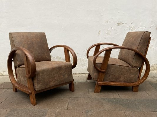 Pair of adjustable armchairs by Thonet Pancota Vienna, 1920s