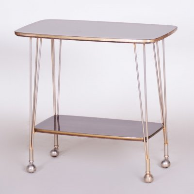 20th Century Art Deco Mahogany & Brass Trolley Table, 1950s
