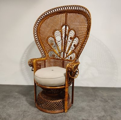 Vintage wicker peacock chair, 1970s