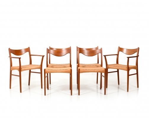 Set of 6 Danish Teak Dining Chairs by Arne Wahl Iversen for Glyngøre Stolefabrik