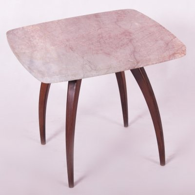 Small Table in Walnut & Marble by Jindrich Halabala, 1940s