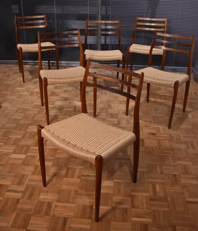 Set of 6 Niels Moller Model 78 Brazilian Rosewood Chairs