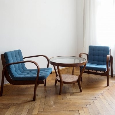 Seating group with 2 armchairs & table by Antonín Kropáček & Karel Koželka