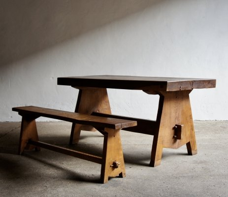 Modernist Dining Table & Bench, 1960s