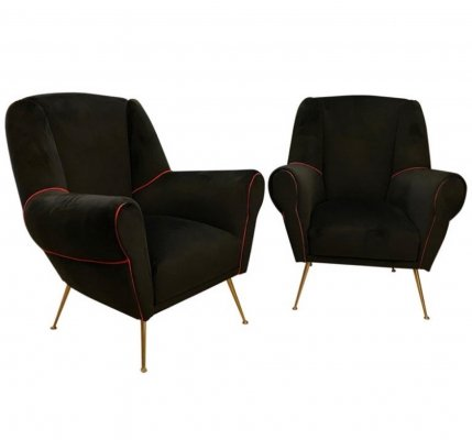 Set of Two Mid-Century Modern Brass & Black Velvet Italian Armchairs, 1950s