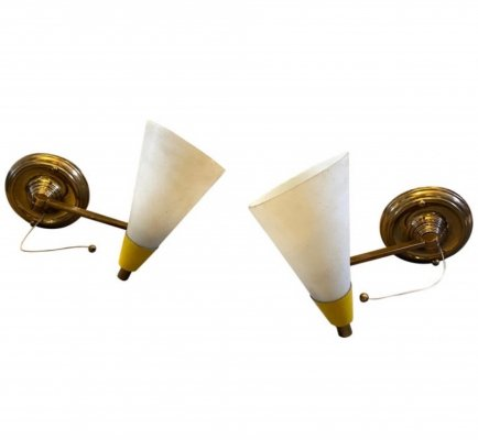 Set of two Mid-Century Modern Brass & Glass Foldable Wall Sconces, circa 1950