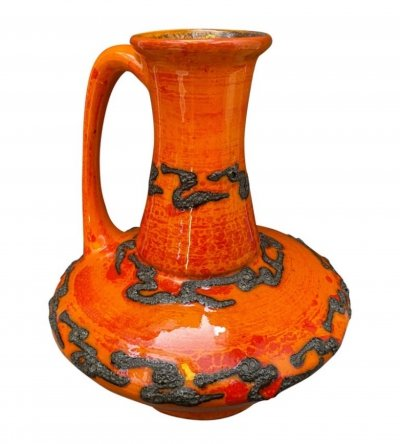 Mid-Century Modern Fat Lava Orange Ceramic German Jug, circa 1970