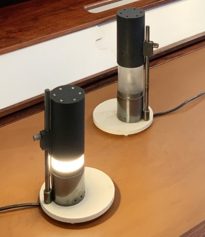 Ultra-rare pair of Lelii's Cartuccia table lamps, 1950s