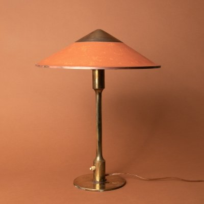 Kongelys T3 lamp in brass & oiled paper by Niels Rasmussen Thykier, 1940s