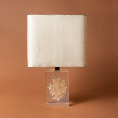 Pierre Giraudon Lamp with a base of transparent fractal resin containing a coral inclusion