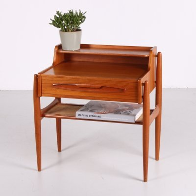 Danish Teak Side Table with drawer & rattan shelf, 1960s