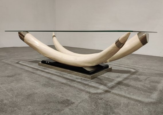 Vintage faux tusk coffee table, 1980s