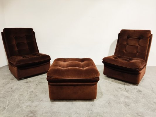 Mid century lounge chairs with ottoman, 1970s