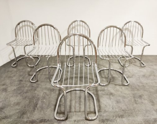 Set of 6 Vintage chrome cantilever dining chairs, 1970s