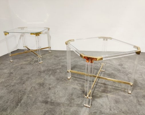 Pair of Vintage lucite & brass side tables by Charles Hollis Jones , 1970s