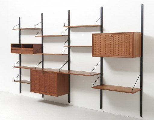 Wall Shelving Unit in Teak by Poul Cadovius for Royal System, Denmark 1950's