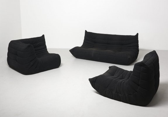 Black 'Togo' Sofa by Michel Ducaroy for Ligne Roset, France 1973