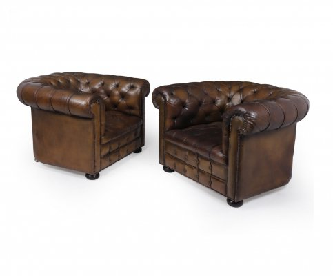 Pair of English Leather Chesterfield Club Chairs