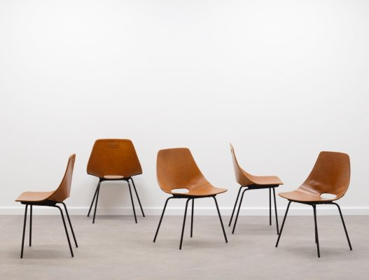 Rare set of 5 leather 'Amsterdam' chairs by Pierre Guariche