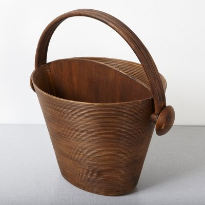 Pieter van Gelder Wicker & Wood Storage Basket, 1940s