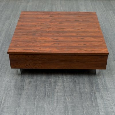 1970s cubical rosewood coffee table with fold-out top & storage inside