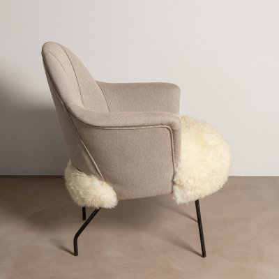 Armchair with Lamb Fur, 1950s