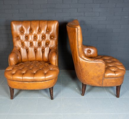 Vintage pair of full button Chesterfield Armchairs