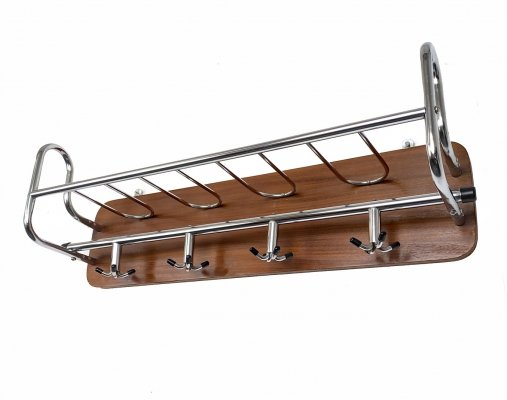 Mid-Century Wall Coat Rack in Teak & chrome plated metal, Scandinavia 1960s