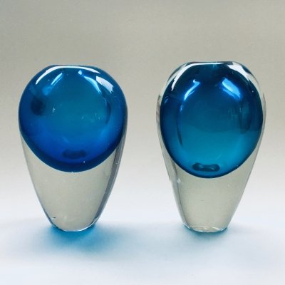 Midcentury Modern Art Glass set of 2 Handblown Spheres, 1960's
