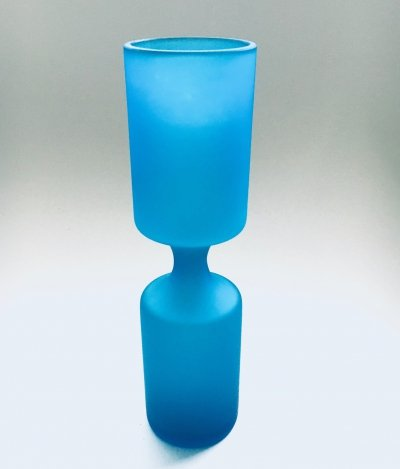 Art Glass Blue Glazed Vase Satinato by Carlo Moretti for Rosenthal Netter, Italy
