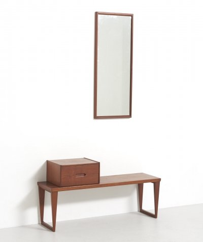 Hallway set with Bench & Mirror by Kai Kristiansen, 1960's