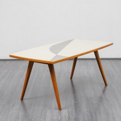 Mid-Century 1950s coffee table with scissor legs