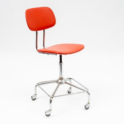 Mid-Century height adjustable office chair in red, 1950s
